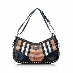 Burberry House Check Studded Canvas Hobo Bag
