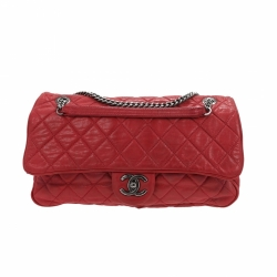 Chanel Single Flap bag in dark pink leather