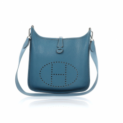 Hermès Bag Hermès Evelyne I Blue Leather Clemence PM