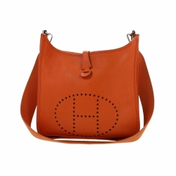 Hermès Evelyne I Orange Leather Clemence PM Bag