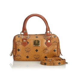 MCM Visetos Leather Satchel
