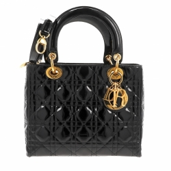 Christian Dior Lady Dior Small Patent Black Bag