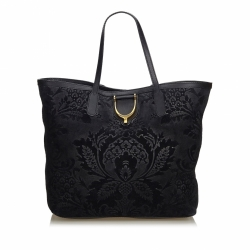 Gucci Suede Brocade Stirrup Tote Bag