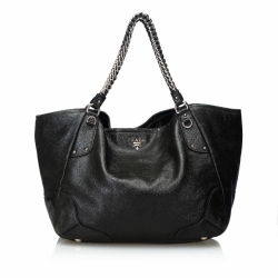Prada Cervo Lux Leather Chain Tote Bag