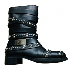Christian Dior Leather Biker Boots