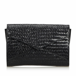 Yves Saint Laurent Weaved Leather Clutch Bag