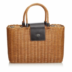 Burberry Nova Check Rattan Basket Handbag