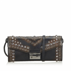 Prada Studded Vitello Daino Leather Long Wallet