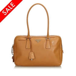 Prada Saffiano Leather Bauletto Handbag