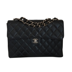 Chanel Jumbo klassisch Single Flap Kaviarleder Leder