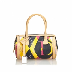 Christian Dior Printed Coated Canvas Boston Bag