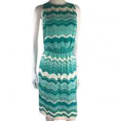 Missoni Slim summer dress in turquoise blue and white