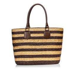 Fendi Striped Straw Tote Bag
