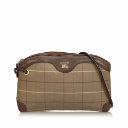 Burberry Plaid Canvas Crossbody Bag