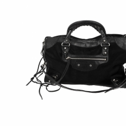 Balenciaga City in black cavallino