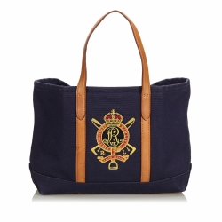Ralph Lauren Embroidered Canvas Tote Bag
