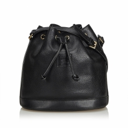 Burberry Leather Drawstring Bucket Bag