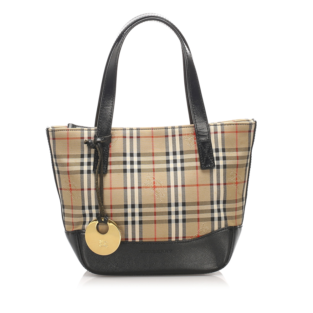 Burberry B Burberry Brown Beige with Multi Canvas Fabric Haymarket Check Handbag United Kingdom