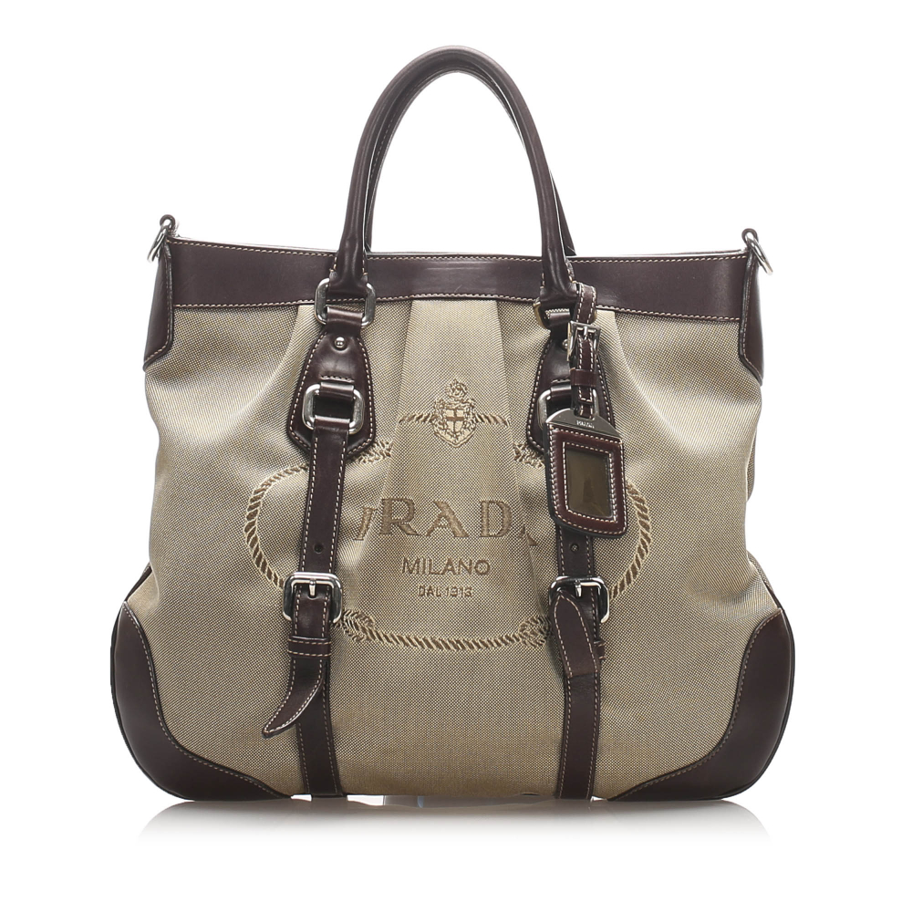 Prada B Prada Brown Beige Canvas Fabric Canapa Satchel Italy