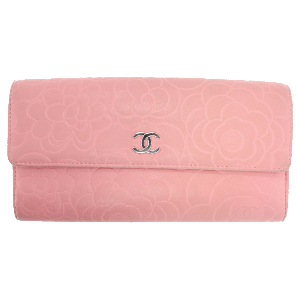 Chanel pink leather Camelia wallet