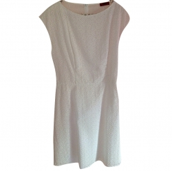 Hugo Boss White summer dress with hole embroidery