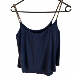 MICHAEL Michael Kors Cascading Chain Solids Layered Tankini Top #MM8H939