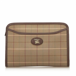 Burberry Plaid Jacquard Clutch Bag