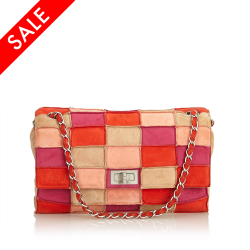 Chanel B Chanel Pink with Multi Suede Leather Reissue Patchwork Flap Bag FRANCE