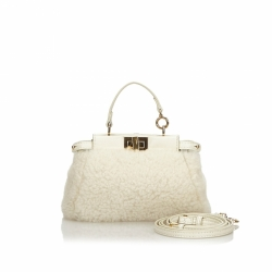 Fendi Shearling Micro Peekaboo Crossbody Bag