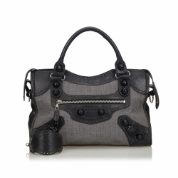 Balenciaga Motocross Canvas Giant City Satchel