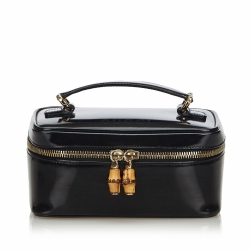 Gucci Bamboo Patent Leather Vanity Bag