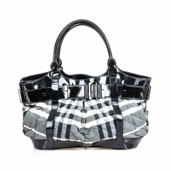 Burberry Quilted Beat Check Canvas Tote Bag