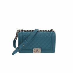 Chanel Boy Bag medium azur lambskin leather