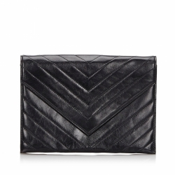 Yves Saint Laurent Leather Chevron Clutch Bag
