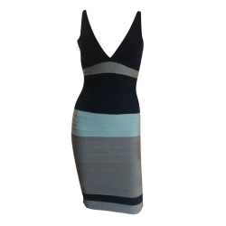 Herve Leger Sleeveless tricolor dress