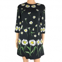 Dolce & Gabbana Black daisy silk dress
