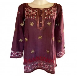 Odd Molly Long Sleeve Embroidered Silk Top