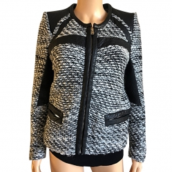 Iro Small jacket in chiné wool and lamb leather