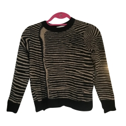 "A.L.C Brown/black Zebra open back ""Cayero"" wool"