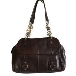 Salvatore Ferragamo Brown Chains Handbag