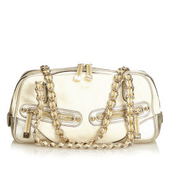 Gucci AB Gucci Gold with White Ivory Leather Princy Shoulder Bag ITALY