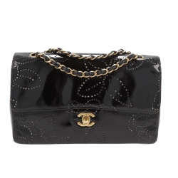 Chanel Timeless Single Flap Bag Medium Patent Black