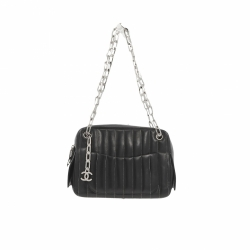 Chanel Mademoiselle Camera Bag Contrast Stitch Quilted Vertical Small Black