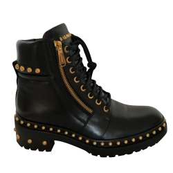 Balmain On SALE/ Ankle ranger boots with gold embellishment