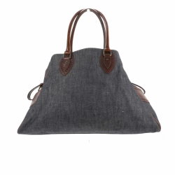Fendi Shoulder bag in blue denim, brown Palmellato leather details