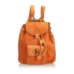 Gucci B Gucci Orange Suede Leather Bamboo Drawstring Backpack Italy