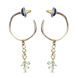 Swarovski Green Coral Gold Plated hoop pierced earrings
