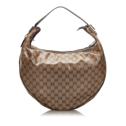Gucci B Gucci Brown Beige Coated Canvas Fabric GG Crystal Duchessa Hobo Bag Italy