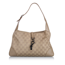 Gucci B Gucci Brown Beige Canvas Fabric GG Jackie Shoulder Bag Italy