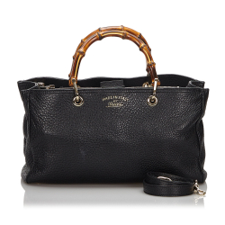Gucci AB Gucci Black with Brown Leather Bamboo Shopper Italy